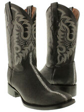 mens black stingray row stone exotic leather western cowboy boots square rodeo
