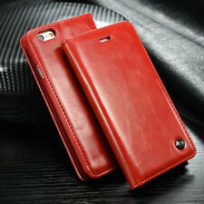 Luxury Leather Wallet Card Holder Flip Stand Case Cover For iPhone/Samsung Red
