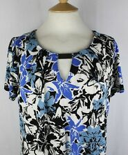 ex George Asda Ladies Jersey Top in Tunic Length with Tab to Pleat Neck Blues