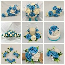 WEDDING FLOWERS TURQUOISE BRIDE B/MAID F/GIRL BOUQUET POSIE WAND CORSAGE PACKAGE