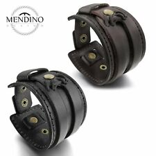 MENDINO Men's Women's Alloy Leather Bracelet Wide Handmade Cuff Wristband Bangle