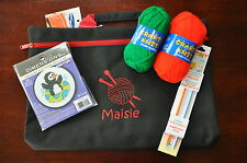 Personalised Children's Christmas Knitting Project Bag - Wool + Cross Stitch Kit
