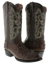 Men's brown round crocodile alligator head western cowboy exotic leather boots