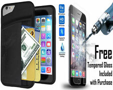 Pouch Credit Card Wallet Case Cover for Apple iPhone 6 6S + Plus Protector Glass