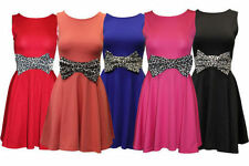 LADIES SLEEVELESS SKATER DRESS WOMENS LEOPARD BOW BELT SKIRT SEXY MINI PARTY TOP