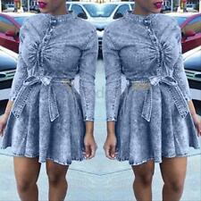 Sexy Womens Denim Jeans Shirt Long Sleeve Bodycon Belted Mini Dress Plus Size