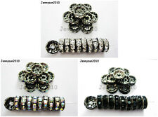 100P Czech Crystal Rhinestone Gunmetal Rondelle Spacer Bead 4mm 5mm 6mm 8mm 10mm