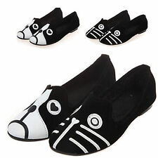 women lady suede cartoon casual ballet flat shoes comfort slip on cat dog loafer