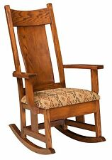 Amish Mission Springfield Solid Wood Rocking Chair Rocker Upholstered