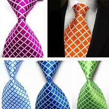 New Classic 100% Silk JACQUARD WOVEN Checks Mens Tie Necktie Blue Green Red V4