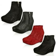 WOMENS LADIES ANKLE WEDGE HIGH HEEL PLATFORM ZIP BOOTS BOOTIES WORK SHOES SIZE