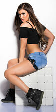 Sexy Women Clubbing Blue Ladies Denim Black Lace Jeans Shorts Size 6 8 10 12 S