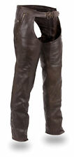 FMC Men Women Unisex Brown Leather Motorcycle Biker Deep Pocket Thermal Chaps