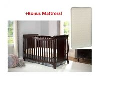 4 in 1 Convertible Baby Crib BONUS MATTRESS Fixed-Side Toddler Child Bed Nursery