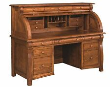 Amish Traditional Castlebury Roll Top Secretary Desk Solid Wood Office Furniture