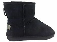 Ladies Girls Snugg Low Ankle Black Faux Fur Suede Boots Winter Causal Shoe Size