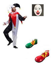 Adult CLOWN COSTUME Fancy Dress Halloween Circus Party Funny Mens Mask Shoes XT