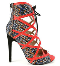 Qupid Multi Tribal Peep toe Pump Lace up Sandal High Heel Women's Shoes Glee