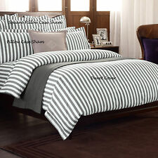 RALPH LAUREN - CLUB STRIPE CHARCOAL PILLOW SHAMS 100% COTTON OVER 50% OFF RRPX