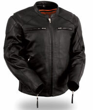 First manufacturing Mens Leather Vented Concealment Motorcycle Jacket FIM246CSL