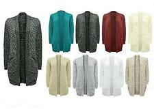 Ladies NEW Long Chunky Cable WAFFLE Knit Long Boyfriend Pocket Top Cardigan 8-18