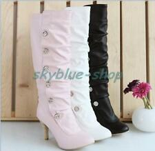 New Womens Synthetic  Leather High Heel Casual Shoes Knee High Boots Size