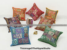 """Patchwork Cushion Cover Indian Embroidered Cotton Pillow Case Cover Throw 16"""""""