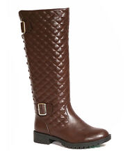 NIB!! WOMENS CA COLLECTION BY CARRINI BROWN QUILTED LACE UP BOOTS~9