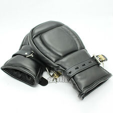 Deluxe Leather Bondage Padded Lined Locking Fist Mitts Gloves Restraint Mittens