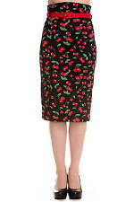 NEW HELL BUNNY BLACK RED CHERRIES 50S ROCKABILLY RETRO PENCIL WIGGLE SKIRT 8-16