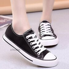 Men Women Canvas Shoes Lace Up Casual Low Top Pump Plimsolls Sneakers Walk New
