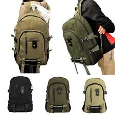 Vintage Canvas Backpack Mens Womens Satchel Military Hiking Bag Rucksack 35YQ