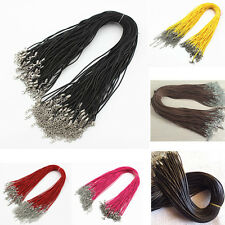 5/10/50/100pcs Hemp Leather Cord Necklace Lobster Clasp Braid Rope Round 18inch