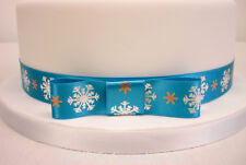Snowflake Frozen / Christmas Cake Celebration Ribbon 1 Metre & Matching Bow