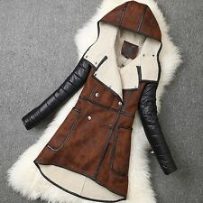 Women Slim Faux Suede Leather Thicken Wool Lining Long Jacket Hooded Trench Coat