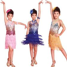 6-12Y Girl Tasseled Sequined Latin Salsa Dance Dress Kids Ballroom Party Costume