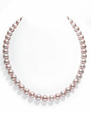 14K Gold 9-10mm Pink Freshwater Cultured Pearl Necklace - AAA Quality