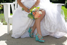 "Dyeable White 4"" Platform Wedge Women's Prom Bridal Bridesmaid Sandal Shoe"