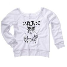 Cattitude Womens Sweatshirt Cats Humor Soft Comfy Top Triblend