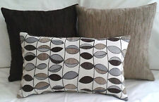 Set of 3 x Scatter/Throw cushion covers,QualityAussie made Chocolate Beige Brown
