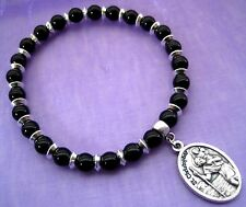 NEW PICK YOUR SAINT Saints Medal On Black Agate Beaded Bracelet Religious Patron
