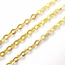 Gold Plated Sterling Silver Chain - 2.3mm Strong Flat Cable (Sold by the Foot)