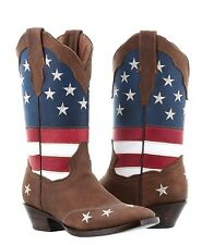womens brown usa flag western cowboy leather square boots riding stars stripes