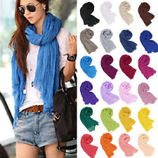 New Women Long Big Crinkle Voile Soft Scarf Wrap Shawl Stole Pure Candy Color