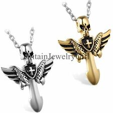 """Gothic Skull Angle Wing Cross Pendant Men's Stainless Steel Chain Necklace 22"""""""