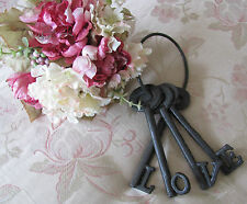 Old Style Shabby Rustic Metal Cast Iron Set Of  LOVE Keys On Ring Rustic Brown