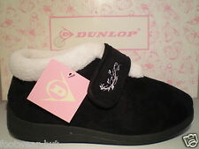 LADIES DUNLOP WIDE FIT SLIPPERS BLACK EASY VELCRO FASTENING SIZE 3 4 5 6 7 8 NEW
