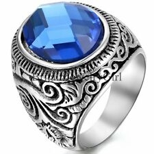 Men's Ring Jewelry Retro Flower Stainless Steel W/ Blue Glass Band Size 7-15