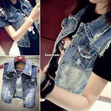Fashion Womens Frayed Cardigan Denim Jeans Vest Waistcoat Jacket Outerwear Coat