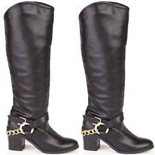 Ladies Womens Faux Leather Cowboy Knee High Heels Zip Biker Riding Boots Shoes